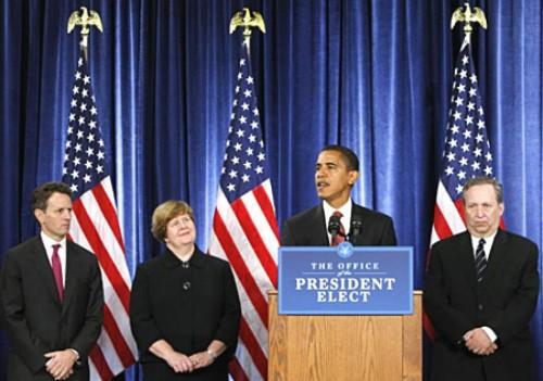 Presidente Obama presenta al equipo económico (a su derecha Crhistina Romer) Foto MARTINEZ MONSIVAIS /AP