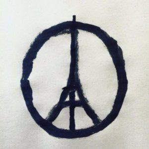 Imagen es la fusión de la Torre Eiffel con el símbolo de la paz, realizado por el diseñador francés Jean Jullien.