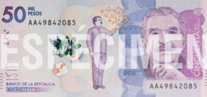 Billete con la figura del Premio Nobel de Literatura Gabriel García Márquez.