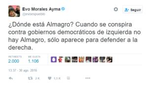 Tweet 2 Evo Morales
