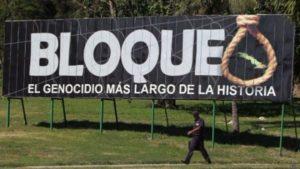 Mensaje de denuncia contra el bloqueo a Cuba.