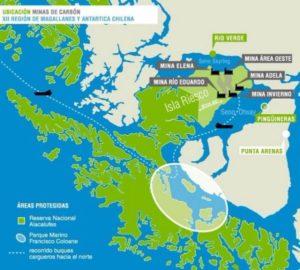 Mapa de la ubicación de las minas de carbón en la isla de Riesco, en la región de Magallanes, en el extremo sur de Chile. (Crédito: Alerta Isla Riesco).