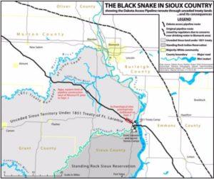 Mapa del territorio sioux afectado por el oleoducto en el estado de Dakota del Norte, en Estados Unidos. (Crédito: Northlandia.com).